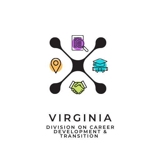 This is the logo for the Virginia Division on Career Development and Transition. A large black X divides 4 different icons, each of which are in the 12 o' clock, 3 o'clock, 6 o'clock, and 9 o'clock positions, respectively. Going clockwise from the 12 o'clock position, the icons include a green piece of paper with magnifying glass, a blue mortar board and diploma, a purple handshake, and an orange pointer icon as depicted on online maps.