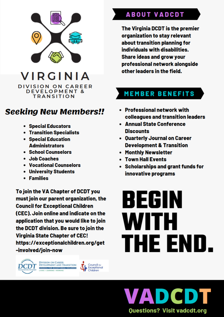 a text-heavy flyer that includes the VADCDT logo and headings that describe benefits of membership. Click on the image to download a printable version of the document.
